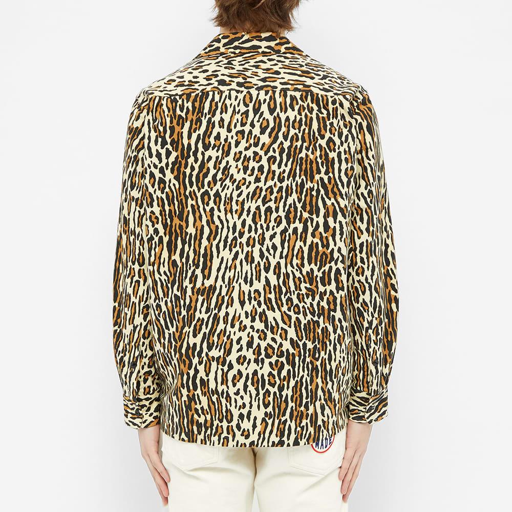 Wacko Maria Leopard Flannel Open Collar Shirt - Beige