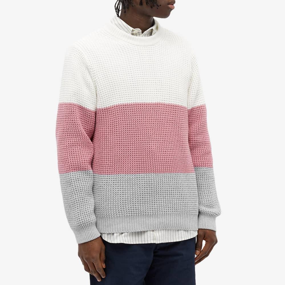 Albam Colour Block Waffle Knit - Ecru, Pink & Grey Marl
