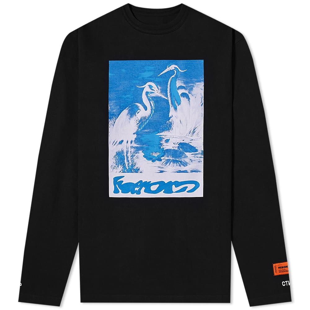 Heron Preston Long Sleeve Oversized Herons Captcha Tee - Ack Light Blu