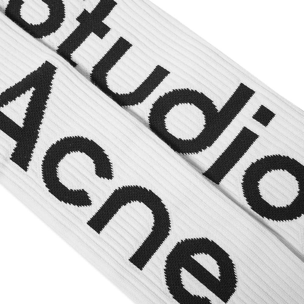 Acne Studios Long Rib Logo Sock - Off White