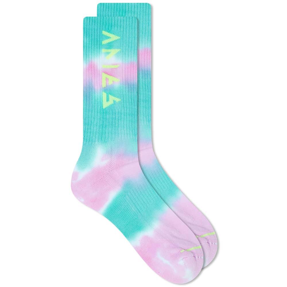 Aries Tie Dye Rune Socks - Yellow & Multi