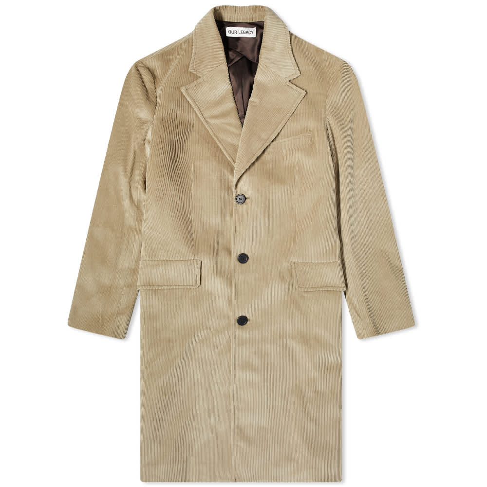 Our Legacy Dolphin Cord Overcoat - Clay Grey Cord