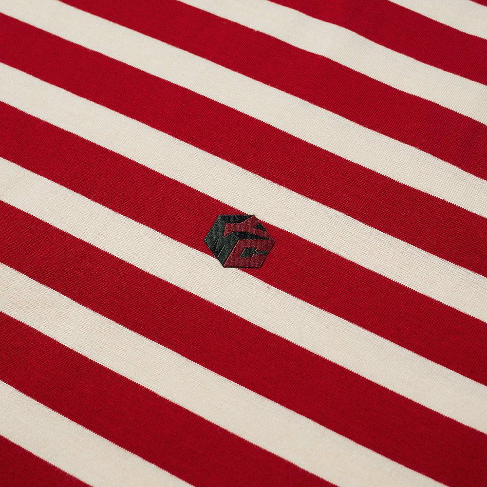 YMC Wild Ones Stripe Tee - Red & Ecru