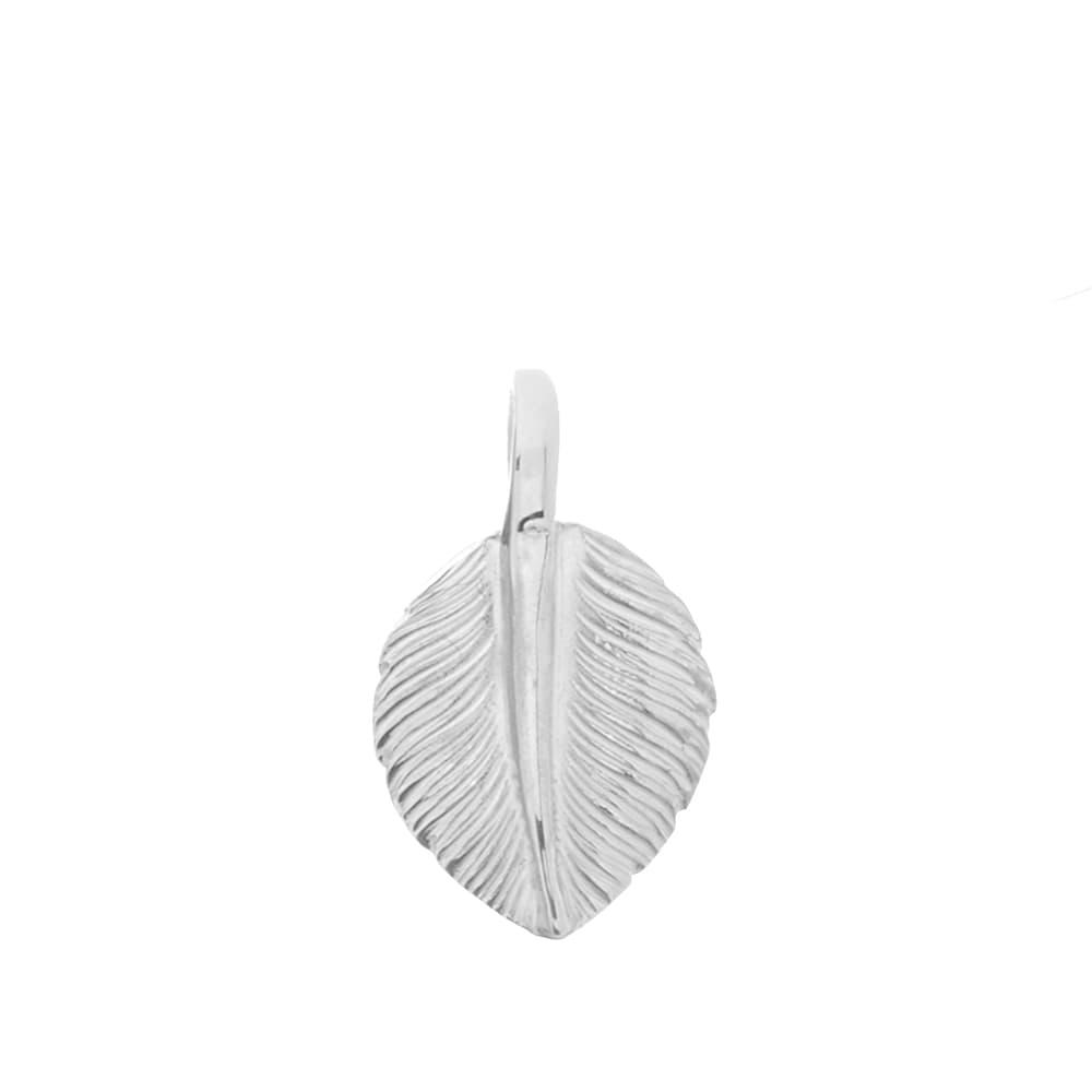 First Arrows Heart Feather Medium Pendant - Silver