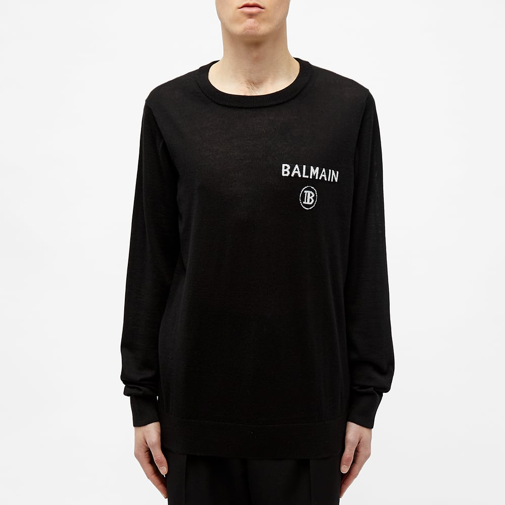 Balmain B Logo Crew Knit - Black