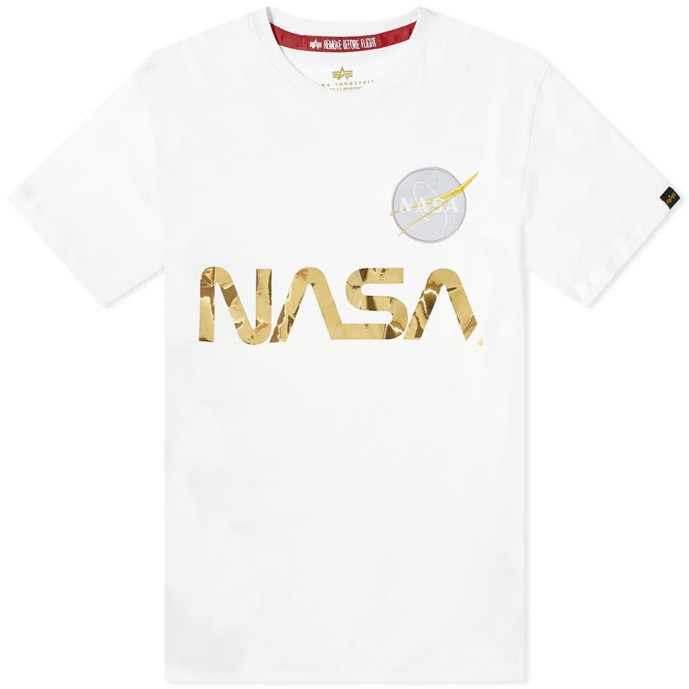 Alpha Industries NASA Reflective Tee - White & Gold