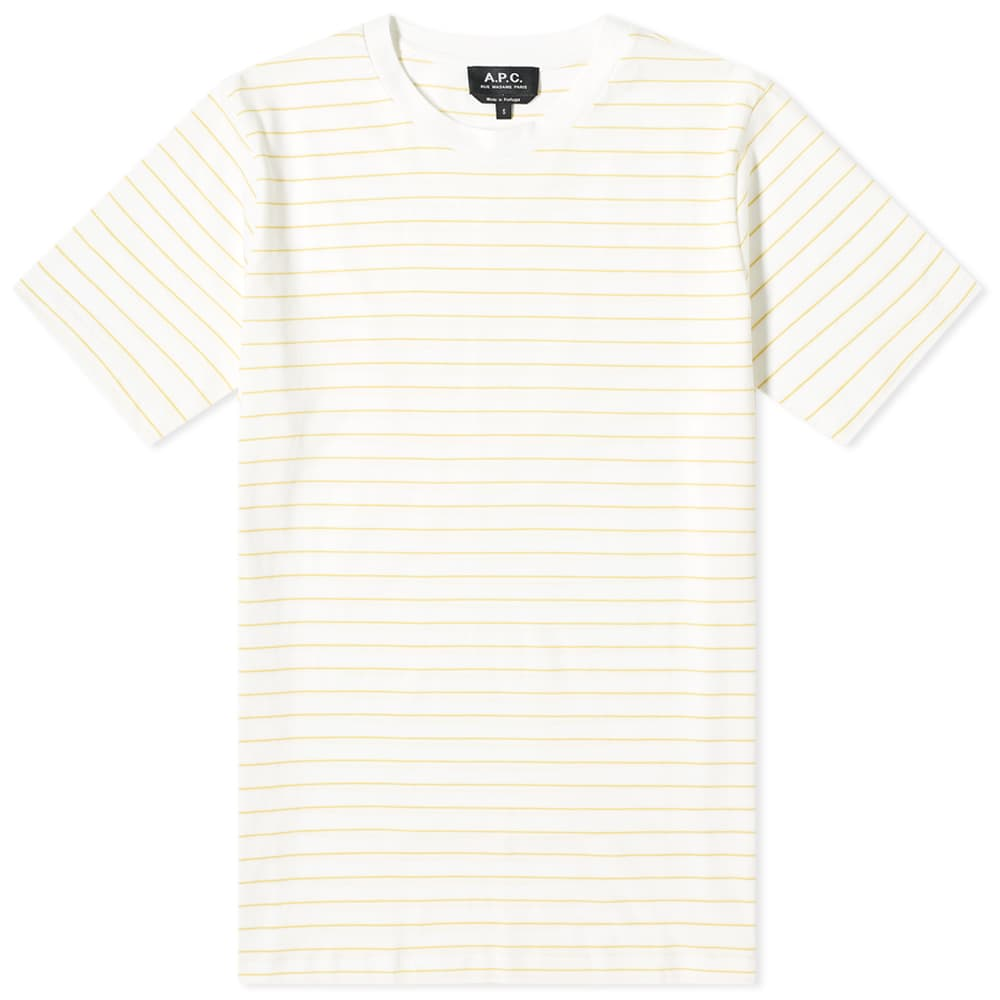 A.P.C. Milo Wide Stripe Tee - White & Yellow