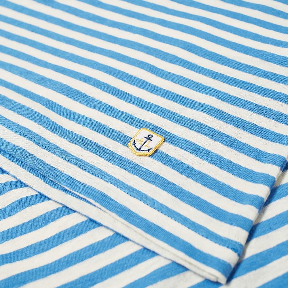 Armor-Lux 76023 Stripe Pocket Tee - Lapis Blue & Natural