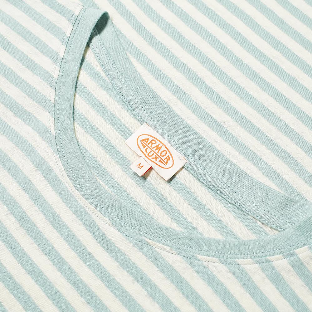 Armor-Lux 76023 Stripe Pocket Tee - Mint & Natural
