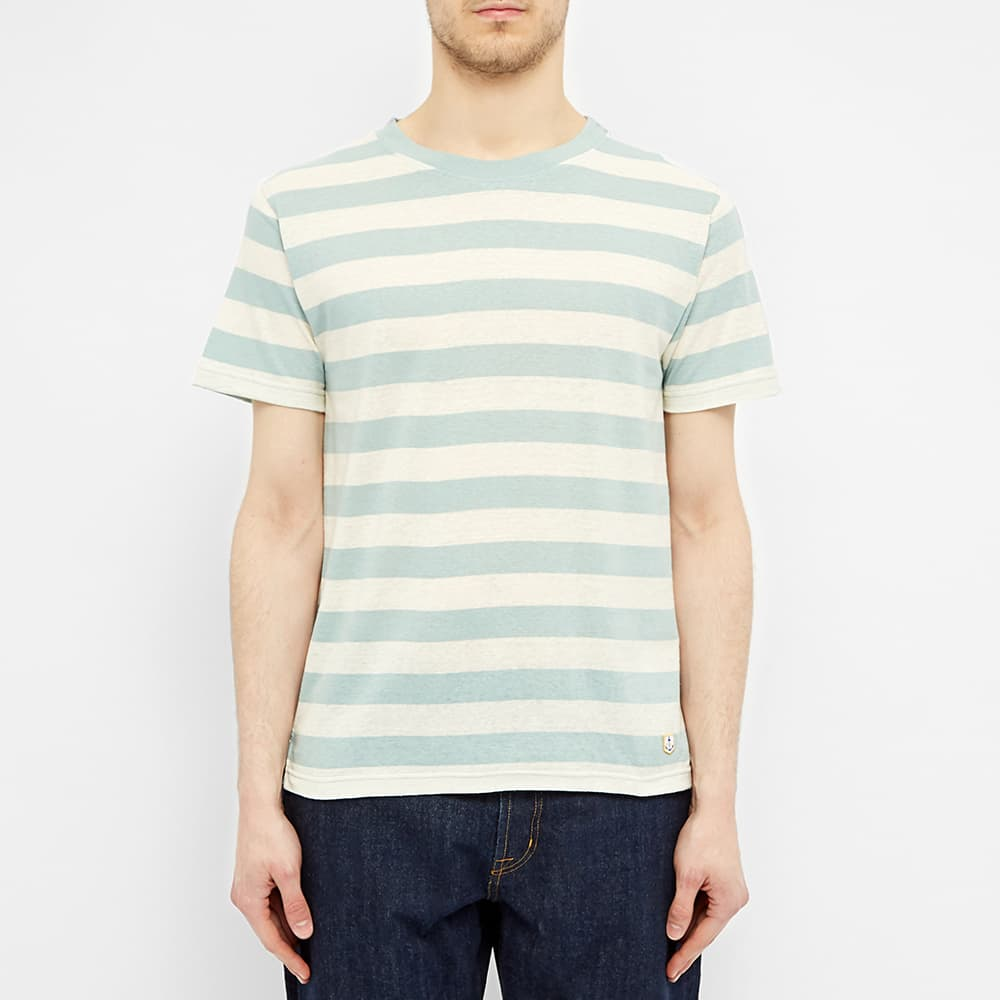 Armor-Lux Wide Stripe Tee - Mint & Natural