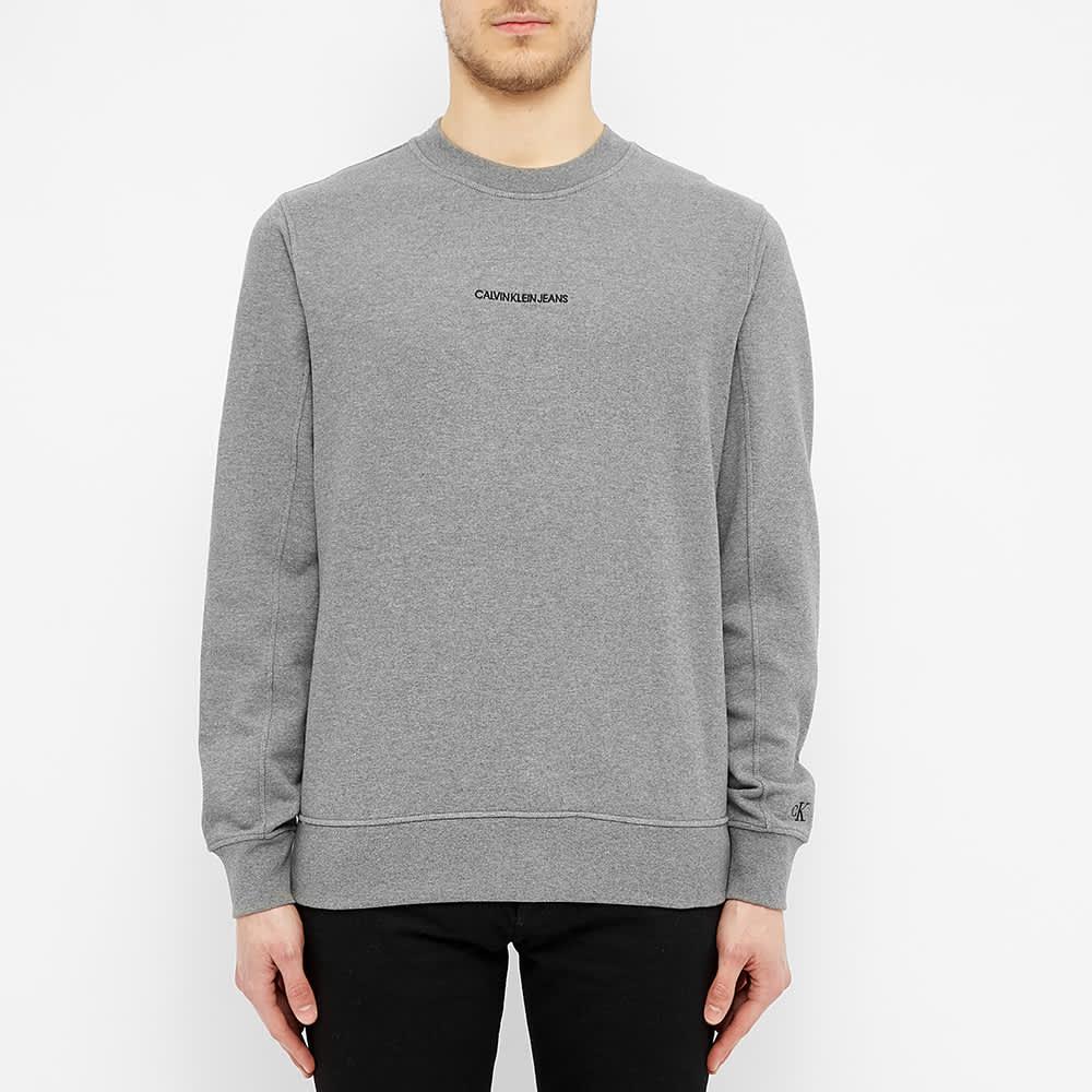 Calvin Klein Embroidered Logo Crew Sweat - Grey Melange