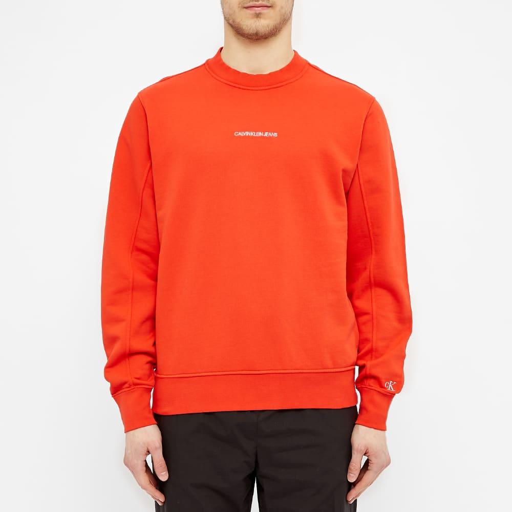 Calvin Klein Embroidered Logo Crew Sweat - Red