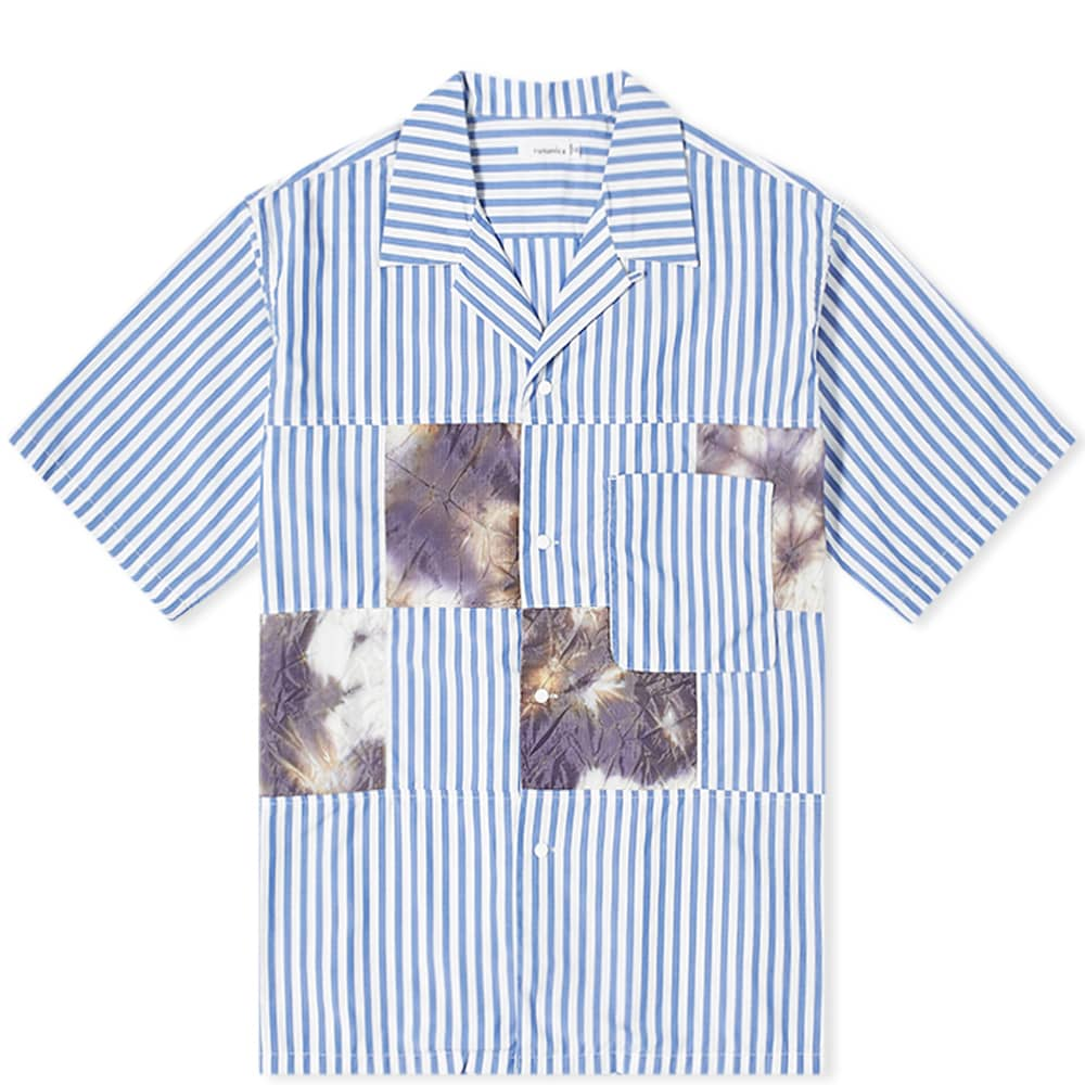 Nanamica Open Collar Patchwork Stripe Shirt - Navy