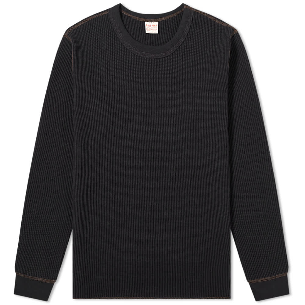 The Real McCoy's Long Sleeve Waffle Thermal Tee - Black