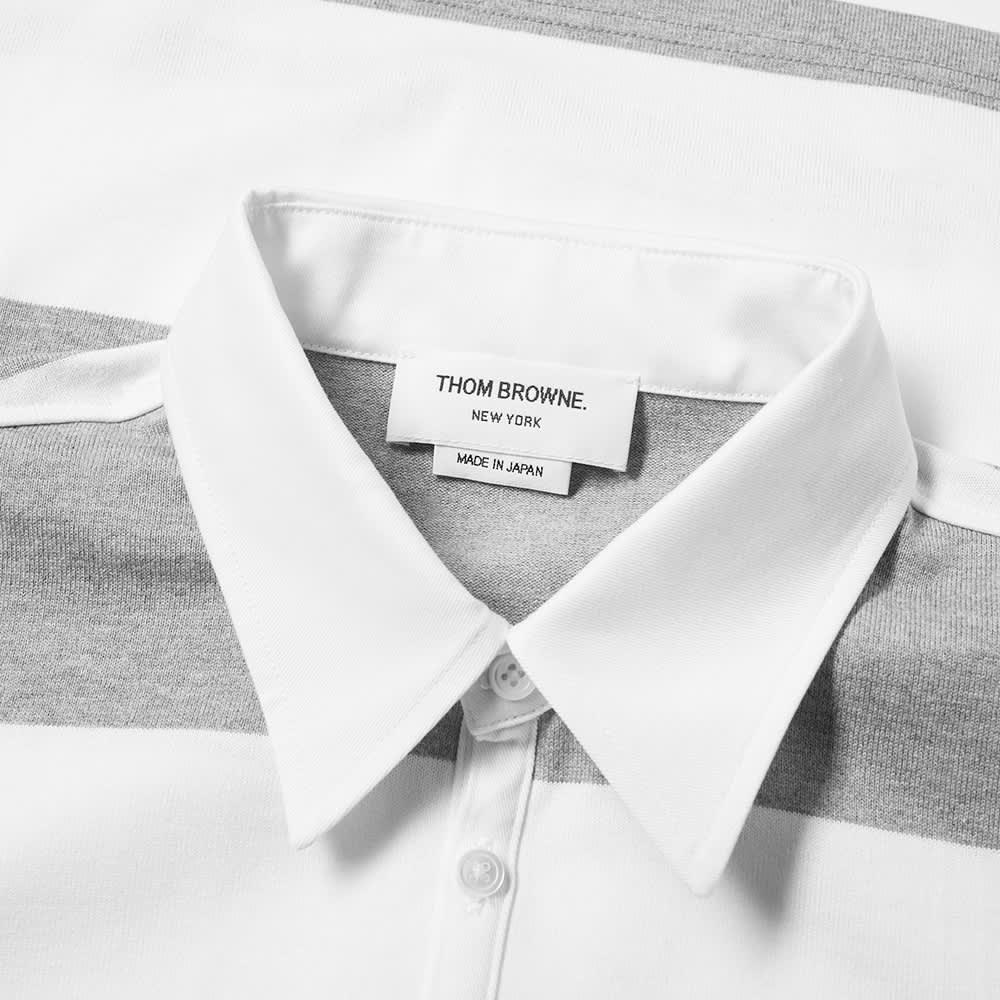 Thom Browne Rugby Stripe Short Sleeve Polo - Grey