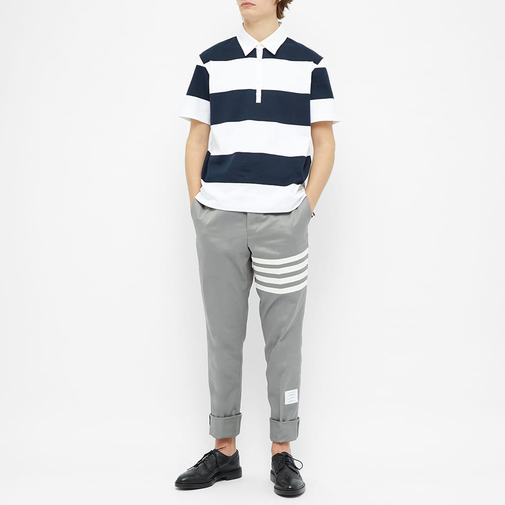 Thom Browne Rugby Stripe Short Sleeve Polo - Navy