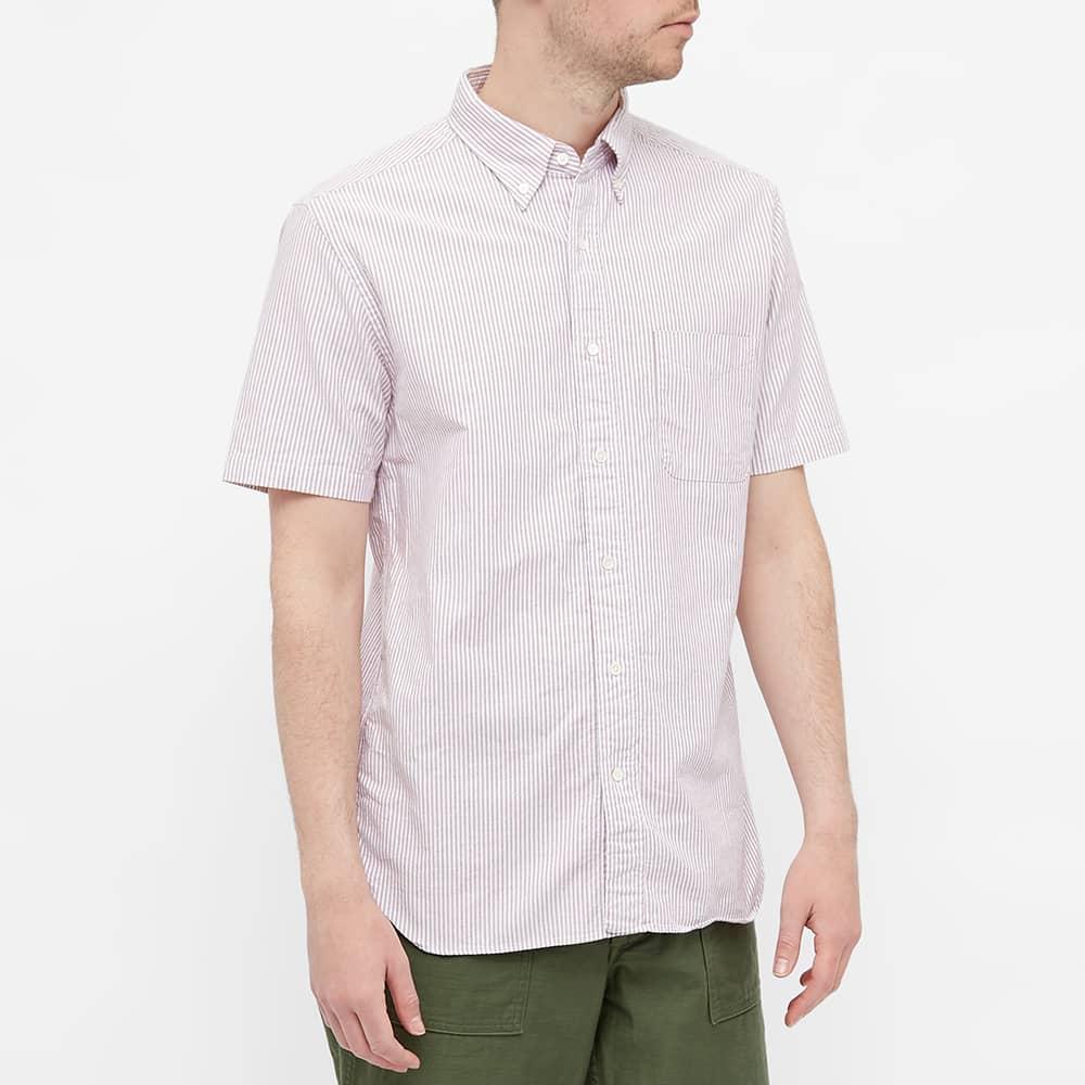 Beams Plus Short Sleeve Oxford Shirt - Wine Candy Stripe