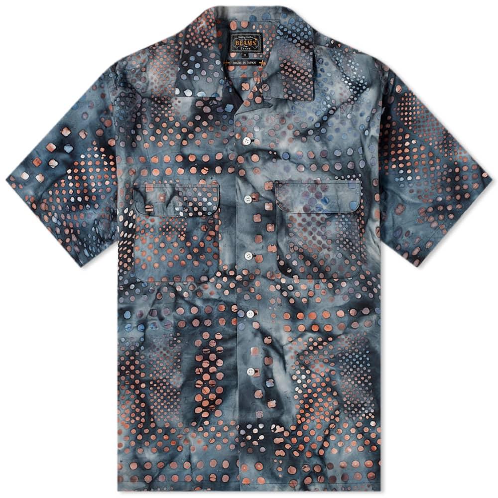 Beams Plus Short Sleeve Open Collar Batik Print Shirt - Black