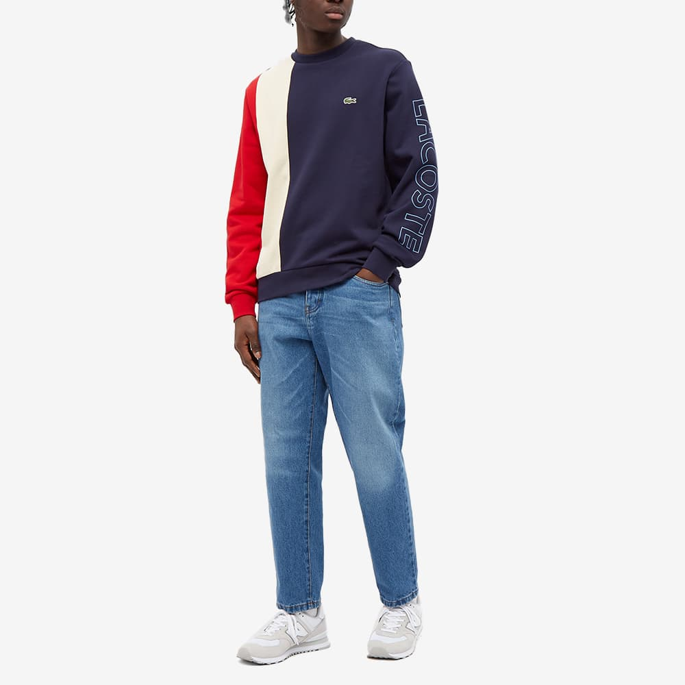 Lacoste Block Stripe Crew Sweat - Navy, Natural & Red