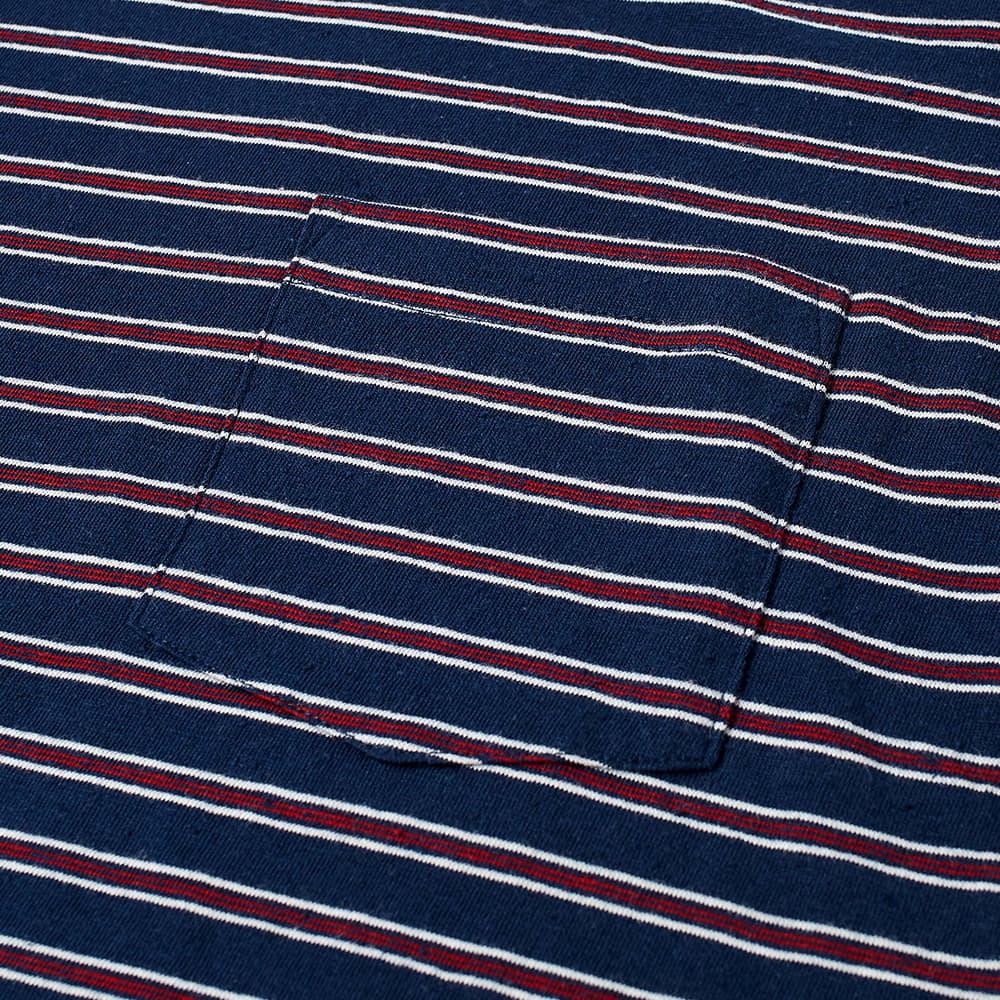 Beams Plus Nep Stripe Pocket Tee - Navy