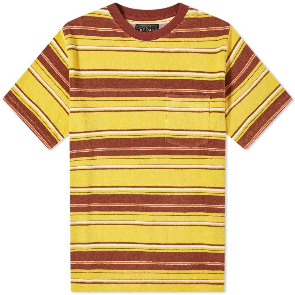 Beams Plus Pile Stripe Pocket Tee - Yellow