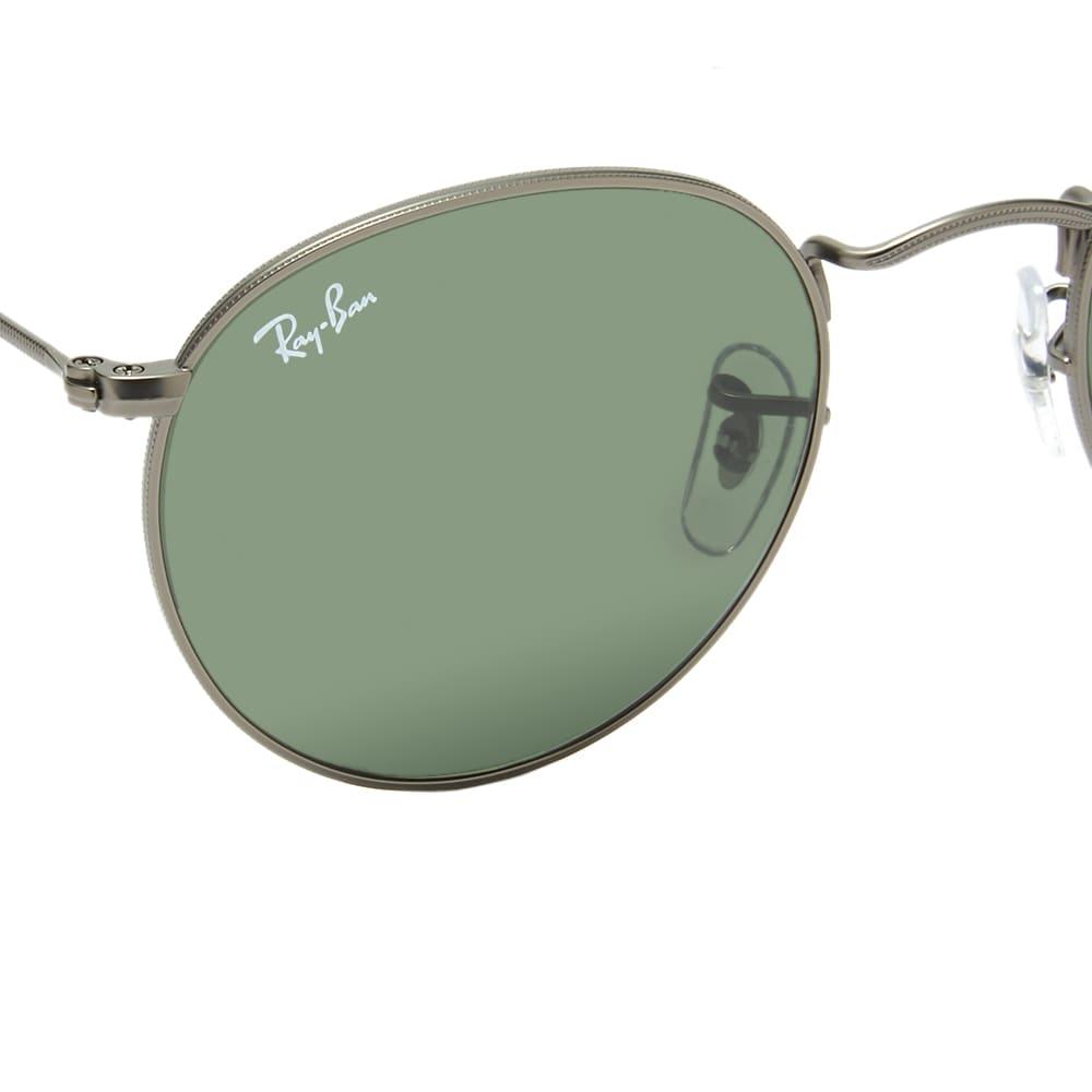 Ray Ban Round Sunglasses - Matte Gunmetal & Crystal Green