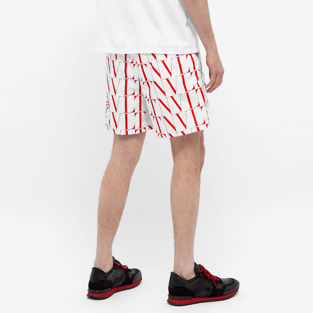 Valentino VLTN Logo Swimshorts - White & Red