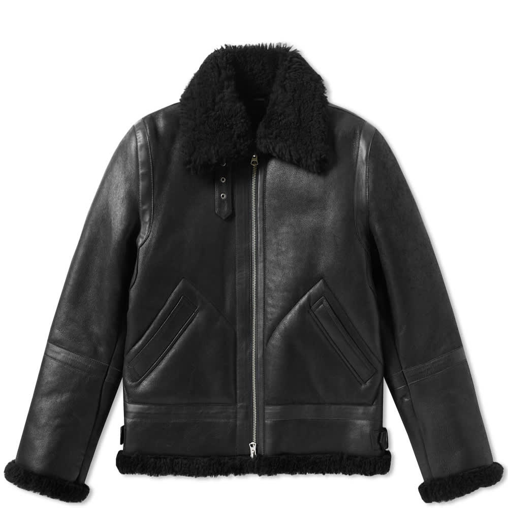 Acne Studios Ian Leather Shearling Flight Jacket - Black