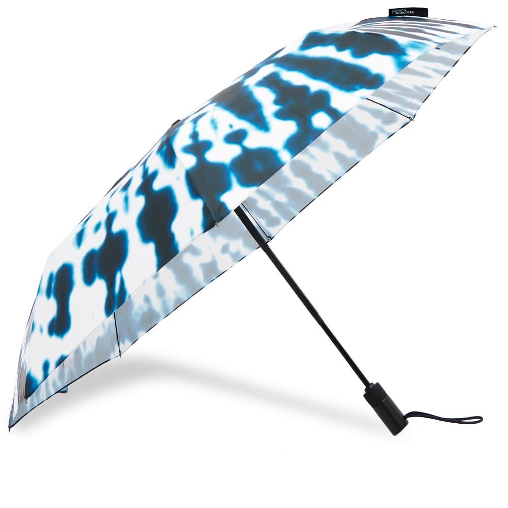 London Undercover Midnight Tie-Die Auto-Compact Umbrella - Blue & White Tie Dye