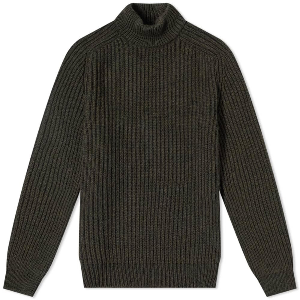Edwin Roni Roll Neck Knt - Uniform Green