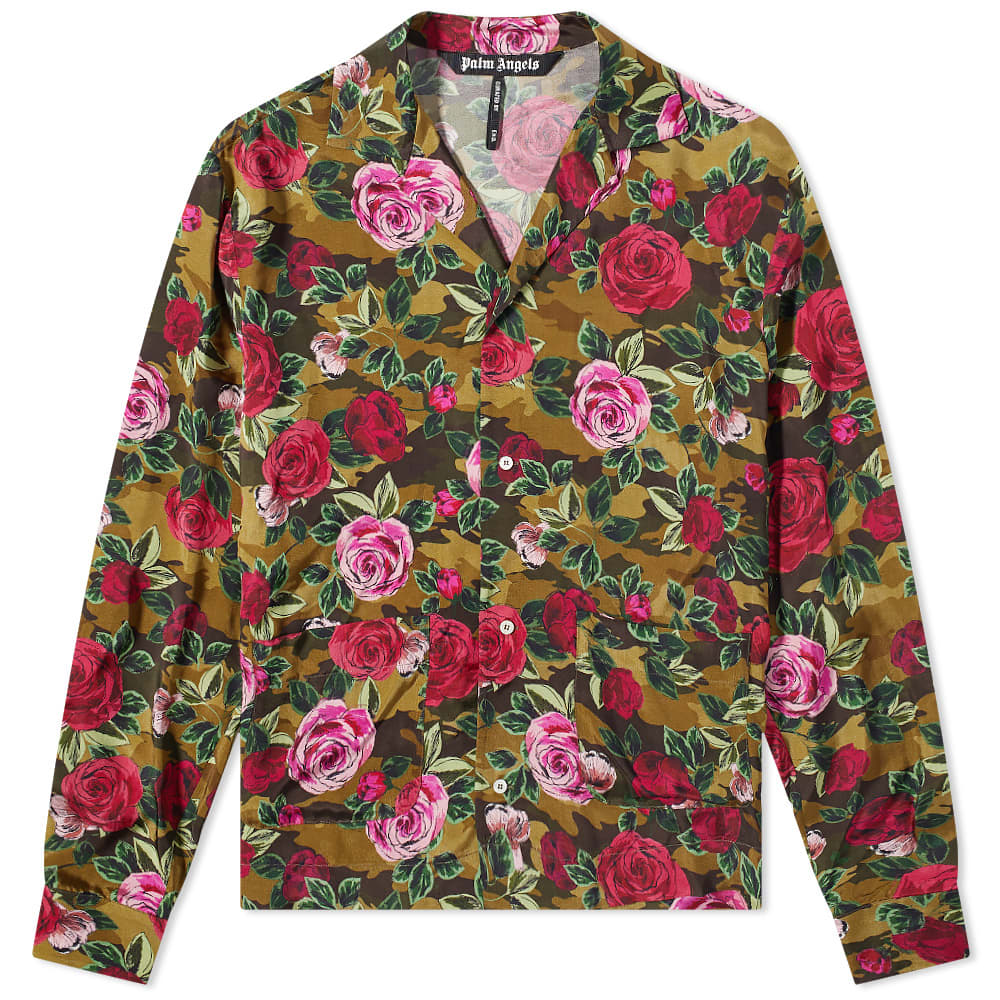 END. x Palm Angels Allover Camo Rose Pajama Shirt - Red