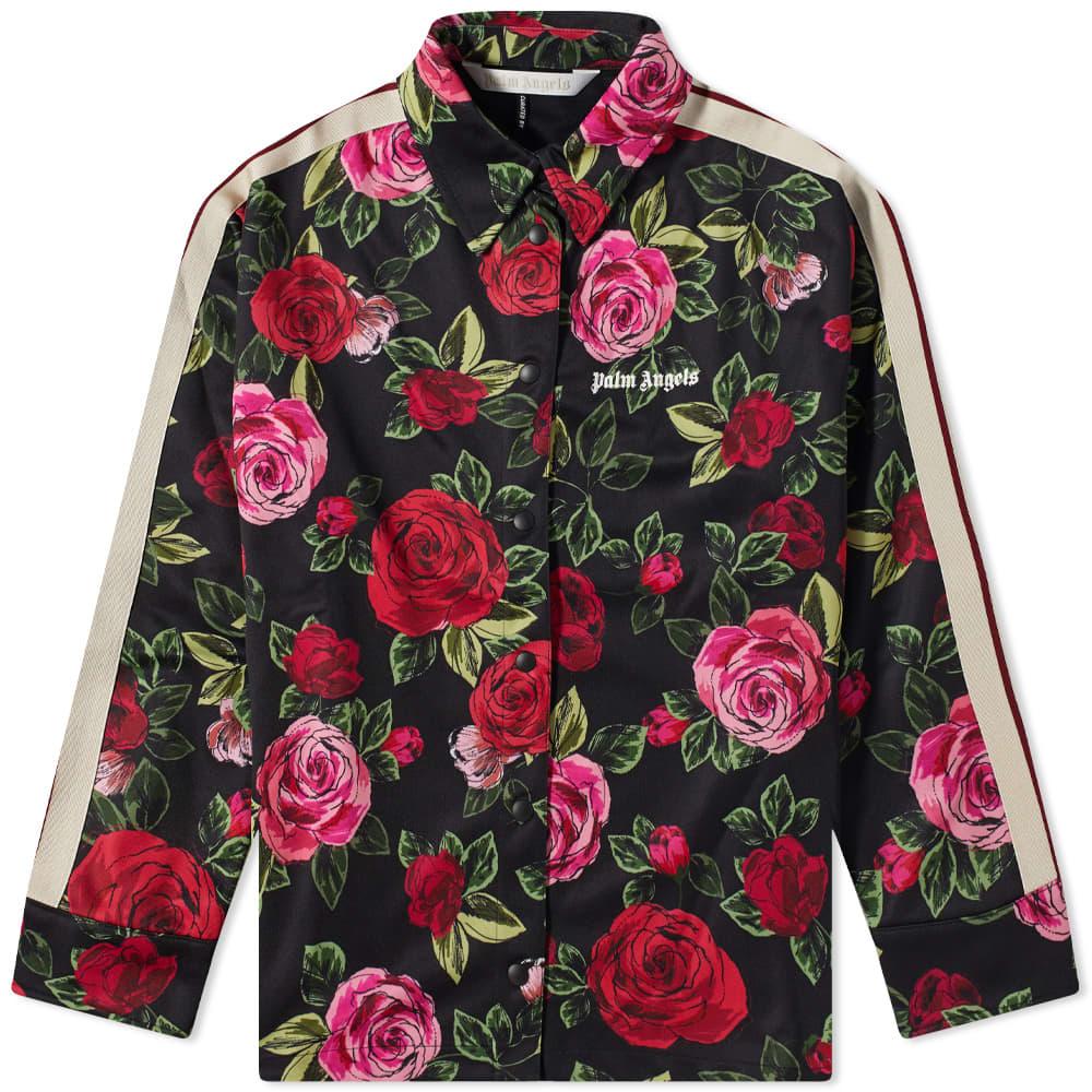 END. x Palm Angels Allover Rose Track Shirt Dress - Black & Red