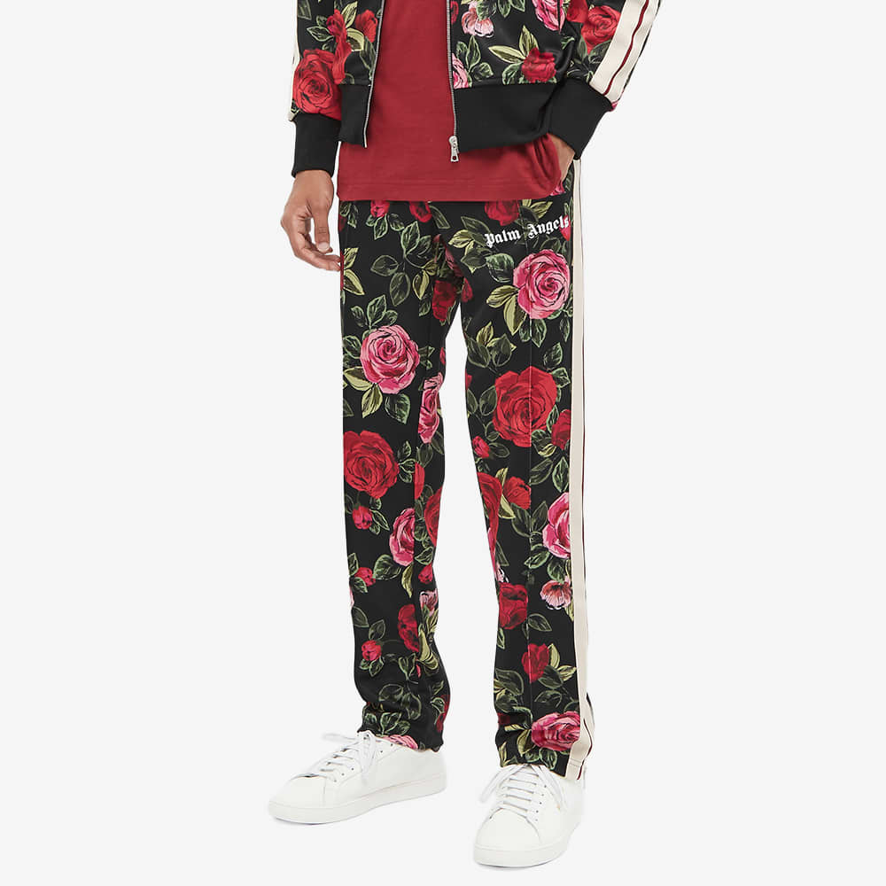 END. x Palm Angels Allover Rose Track Pant - Black & Red