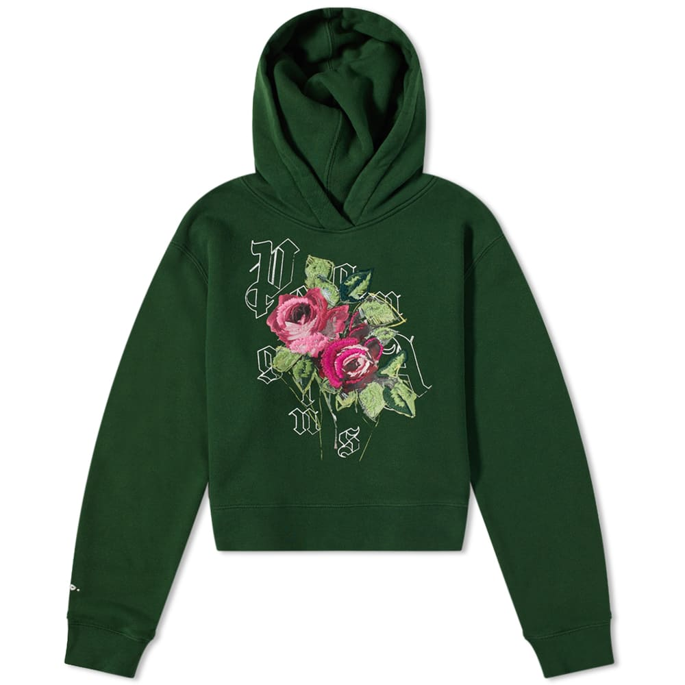 END. x Palm Angels Big Rose Fitted Hoody - Green & White
