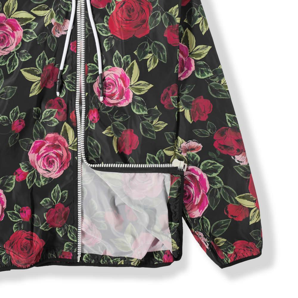 END. x Palm Angels Allover Rose Windbreaker Jacket - Black & Red
