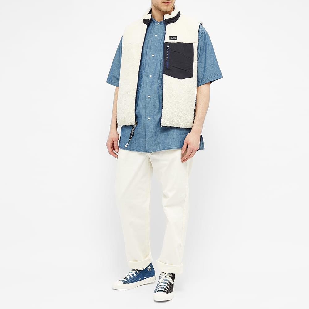 Nanamica Band Collar Short Sleeved Wind Shirt - Indigo