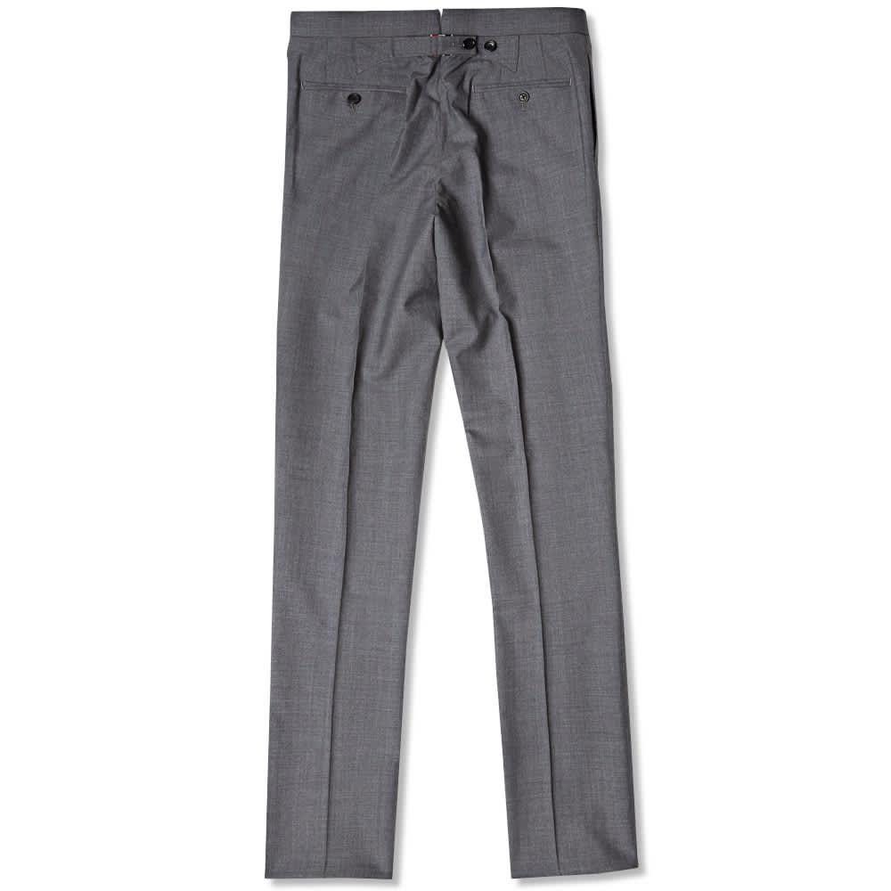 Thom Browne Classic Backstrap Trousers - Medium Grey Wool