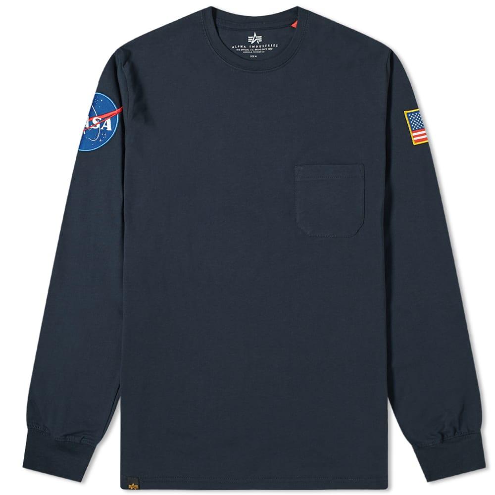Alpha Industries Long Sleeve NASA Tee - Replica Blue