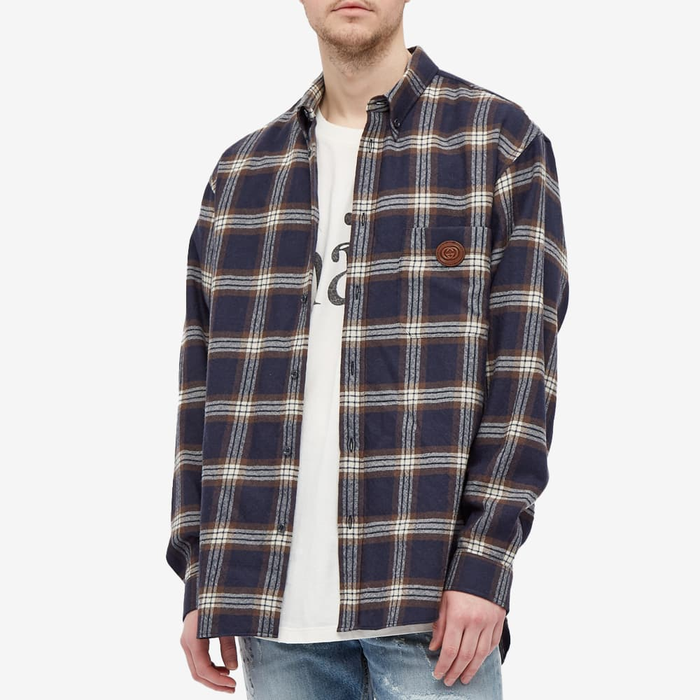 Gucci Checked Flannel Logo Shirt - Blue Brown Mix