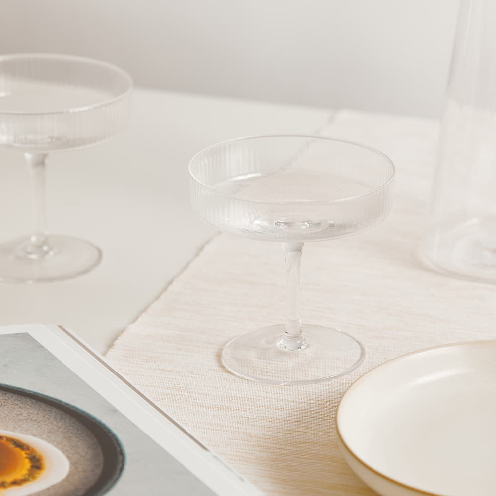 Ferm Living Ripple Champagne Saucer - Set of 2 - Clear