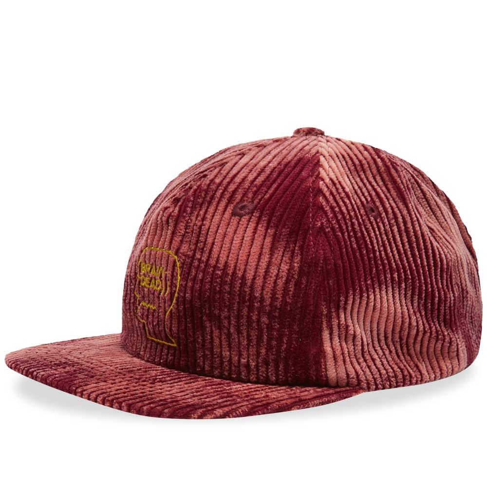 Brain Dead Bleached Cord Logo Head Cap - Burgundy