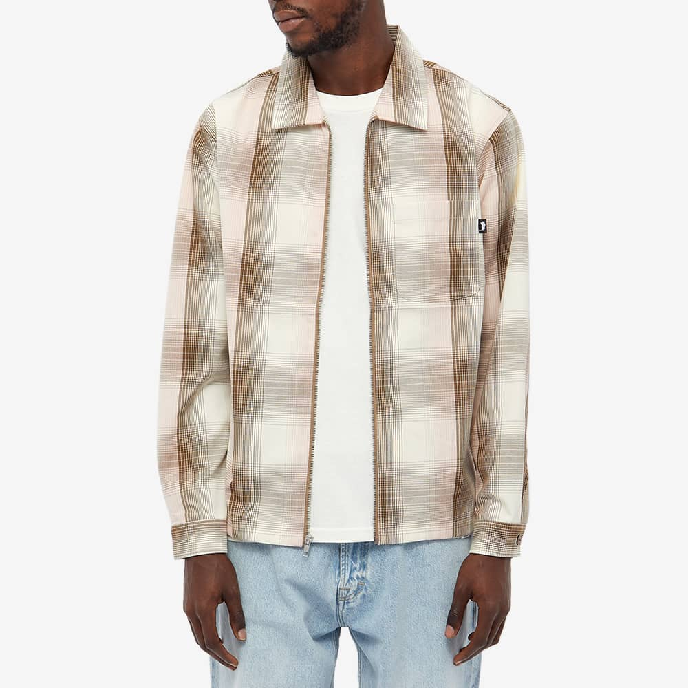 Stussy Shadow Plaid Zip Shirt - Natural