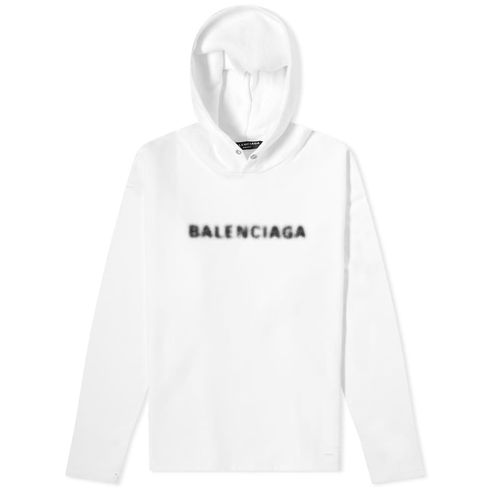 Balenciaga Blurred Logo Popover Hoody - White & Black