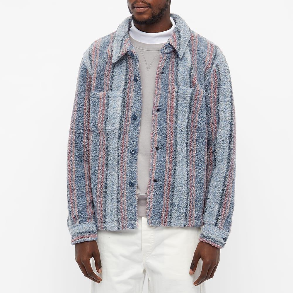 Stussy Stripe Sherpa Shirt - Blue