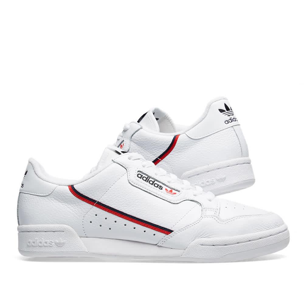 Adidas Continental 80 - White, Scarlet & Collegiate
