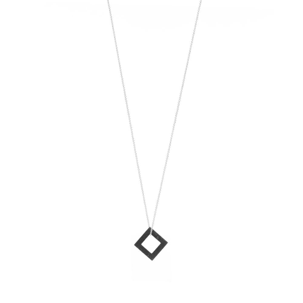 Le Gramme Oxidized Square Pendant Necklace - Sterling Silver 2.9g