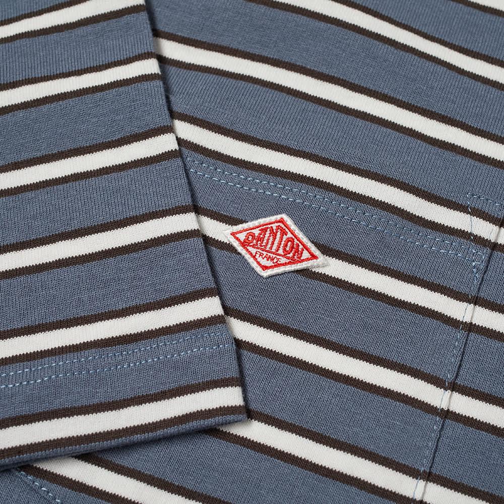 Danton Stripe Crew Neck Pocket Tee - Blue, Black & White