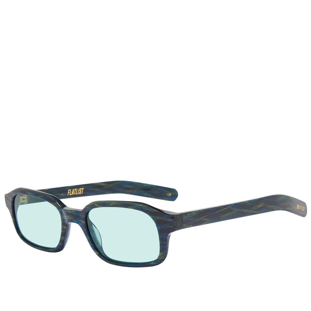 Flatlist Hanky Sunglasses - Shimmery Blue Green Woven