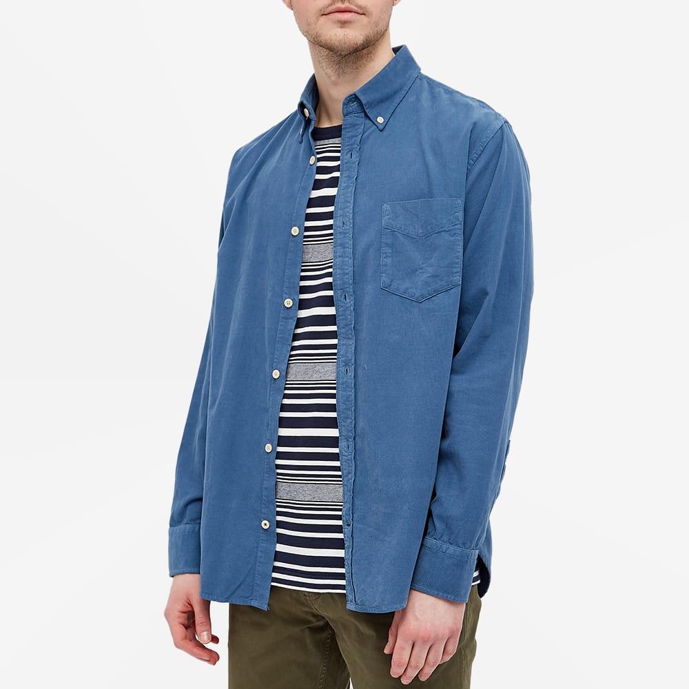 NN07 Levon Button Down Baby Cord Shirt - Washed Navy