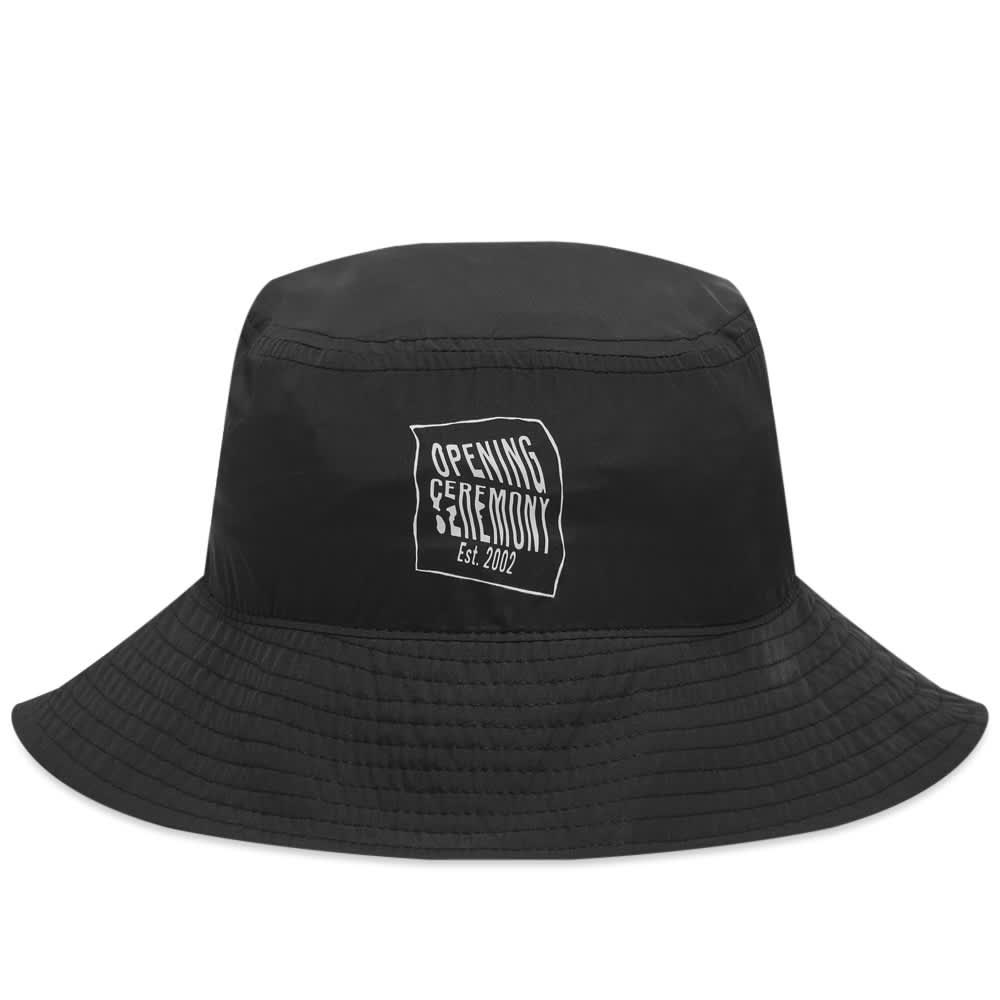 Opening Ceremony Warped Logo Bucket Hat - Black & White